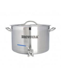 Cuve de brassage inox 25 l avec robinet à boisseau sphérique (36 x 24 cm)