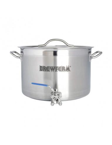 Cuve De Brassage Inox 25 L Avec Robinet A Boisseau Spherique 36 X