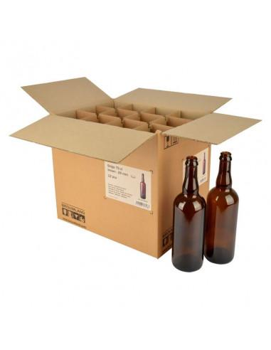 Bouteille de bière Belge 75 cl, brune, couronne 26 mm, boîte 12 pcs