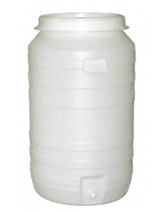 Tonneau plast.rond+robinet+barbot. 210L