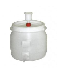 Tonneau plast. rond +robinet+barbot. 30l